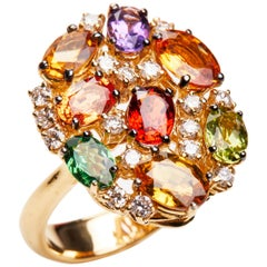 18 Karat Yellow Gold Diamond Peridot Garnet Amethyst and Sapphire Cluster Ring