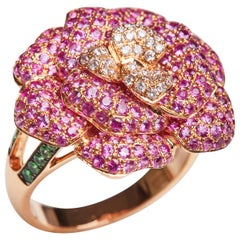 18 Karat Yellow Gold Diamond, Pink Sapphire and Tsavorite Flower Ring