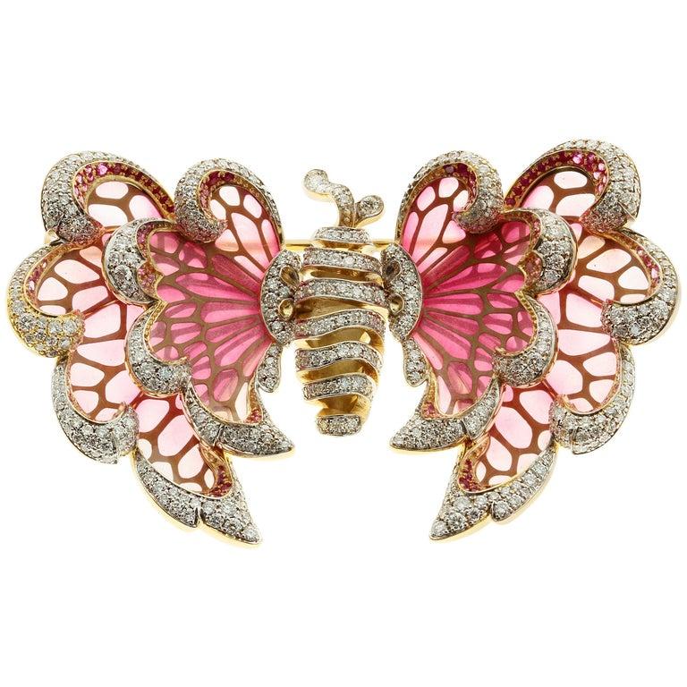 18 Karat Yellow Gold Diamond Pink Sapphire Enamel Butterfly Brooch For Sale
