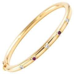 18 Karat Yellow Gold Diamond Pink Sapphire Oval Bangle Bracelet 0.5 Carat