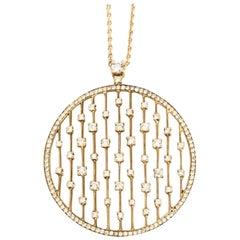 18 Karat Yellow Gold Diamond Rain Drops Pendant Necklace