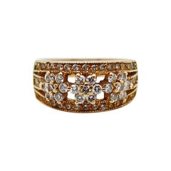 3 Flower Pattern Thick Band  Diamond and 18 Karat Yellow Gold Cocktail Ring
