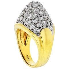 18 Karat Yellow Gold Diamond Ring from 1980s