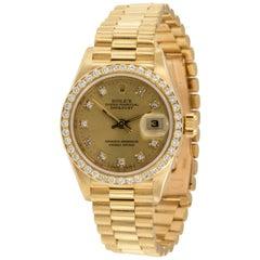 18 Karat Yellow Gold and Diamond Rolex Ladies Presidential Watch #69178