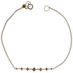 18 Karat Yellow Gold Diamond Round Cross Line Bar Bracelet