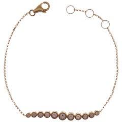 18 Karat Yellow Gold Diamond Round Line Bar Bracelet