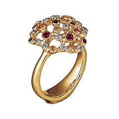 18 Karat Yellow Gold Diamond Rubies Yellow Sapphire Cocktail Ring
