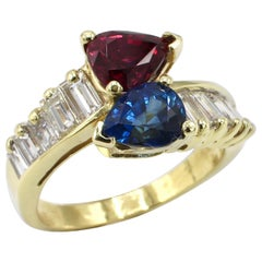 GIA Certified 18 Karat Yellow Gold Diamond, Ruby and Blue Sapphire Bypass Ring