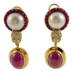 18 Karat Yellow Gold Diamond Ruby and Mobe Pearl Drop Earrings