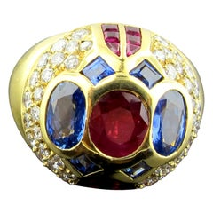 18 Karat Yellow Gold Diamond, Ruby and Sapphire Dome Ring