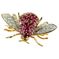 18 Karat Yellow Gold Diamond Ruby Fly Pin Insect Clip Mosquito Handmade Brooch