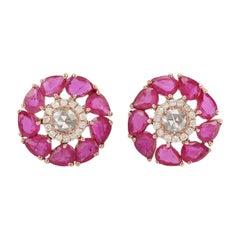 Ruby Diamond 18 Karat Yellow Gold Stud Earrings
