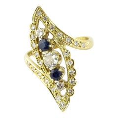 18 Karat Yellow Gold Diamond Sapphire Ring