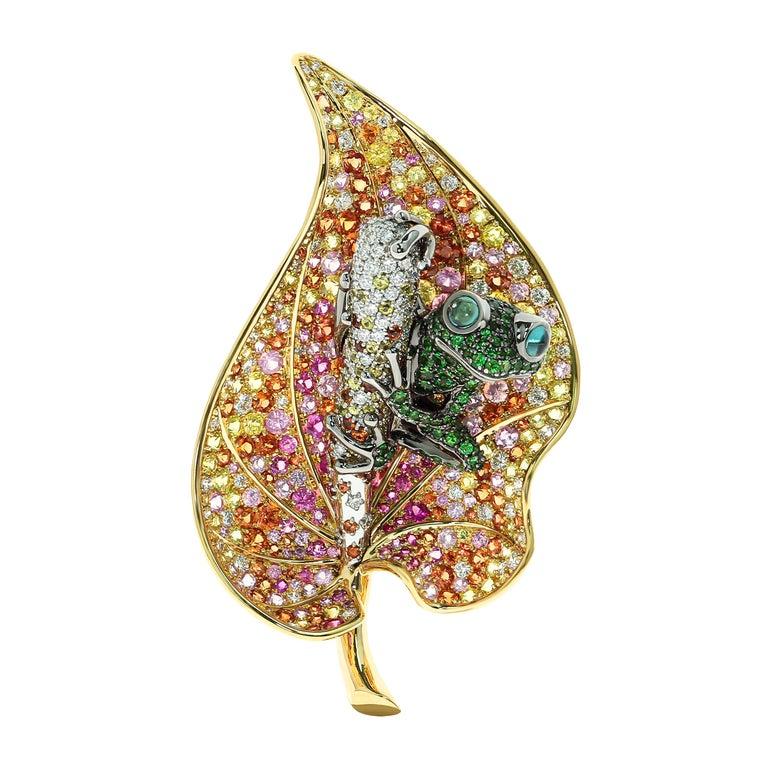 18 Karat Yellow Gold Diamond Sapphire Tsavorite Frog on the Leaf Brooch For Sale