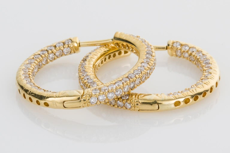 Contemporary 18 Karat Yellow Gold Diamond Set Hoop Earrings For Sale