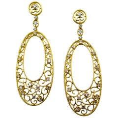 18 Karat Yellow Gold Diamond Shoulder Duster Earrings