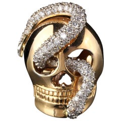 18 Karat Yellow Gold Diamond Skull Ring