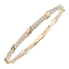 18 Karat Yellow Gold Diamond Slip-On Bangle Bracelet