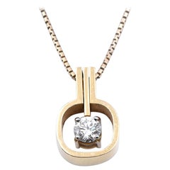 18 Karat Yellow Gold Diamond Solitaire Pendant on 14 Karat Yellow Gold Box Chain
