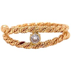 18 Karat Yellow Gold Diamond Split Shank Twist Ring