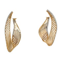 18 Karat Yellow Gold Diamond Swirl Drop Earrings 1.03 Carat