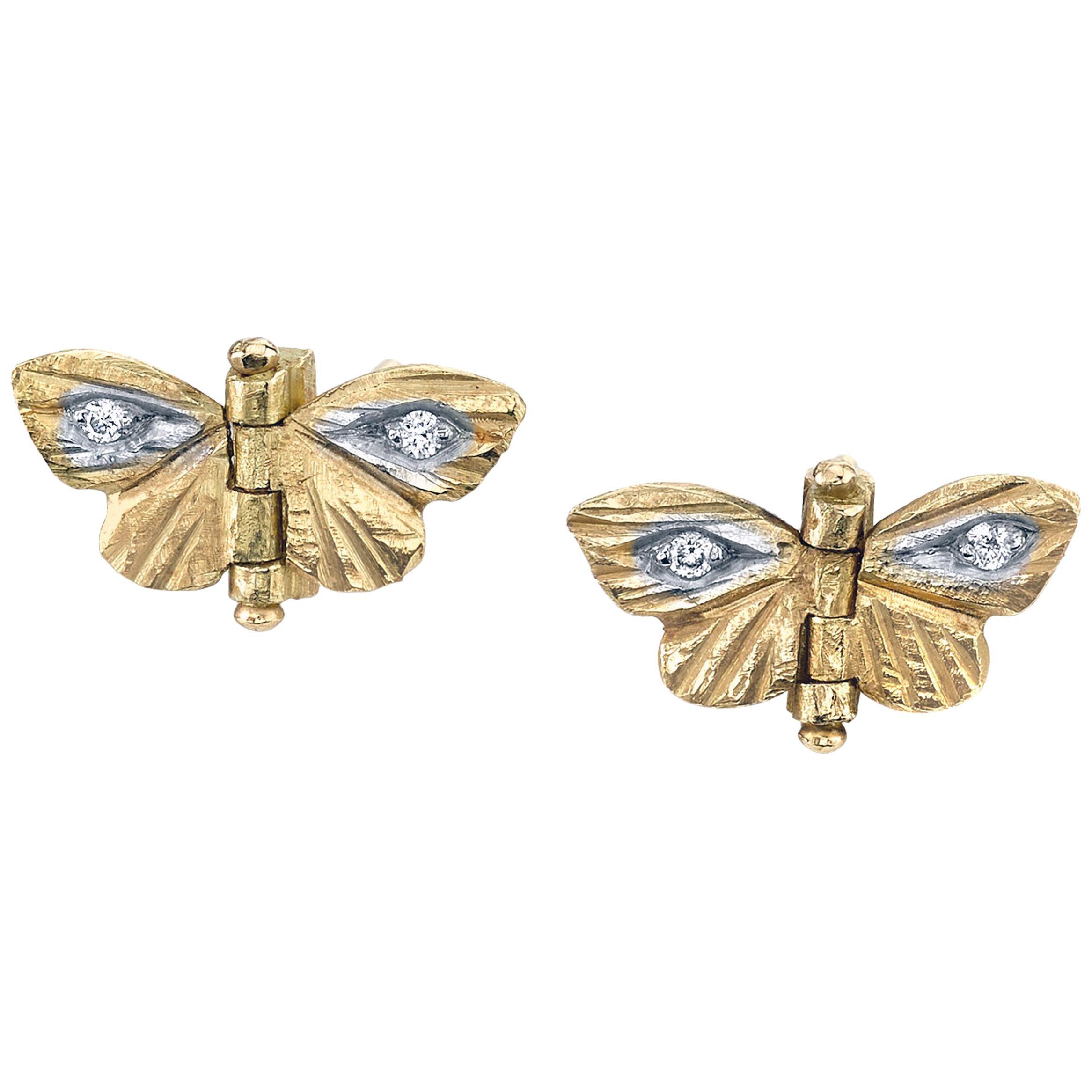 18 Karat Yellow Gold Diamond Tiny Asterope Hinge Butterfly Earrings
