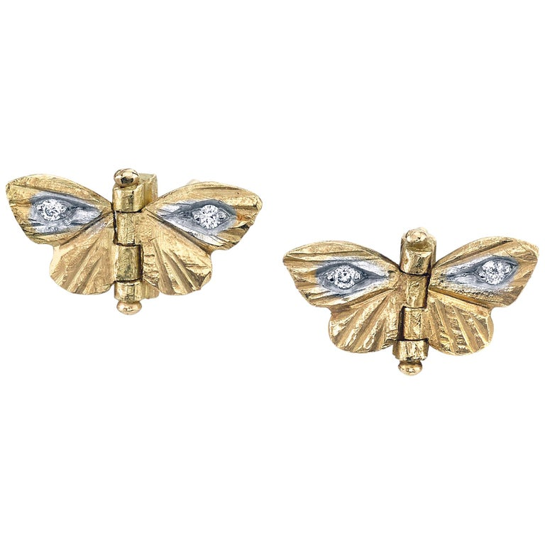 18 Karat Yellow Gold Diamond Tiny Asterope Hinge Butterfly Earrings  For Sale