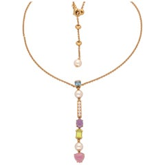 18 Karat Yellow Gold Diamond Tourmalines Pearls Allegra Bulgari Necklace