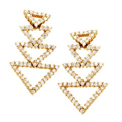 18 Karat Yellow Gold Diamond Triangle Earrings ST-12
