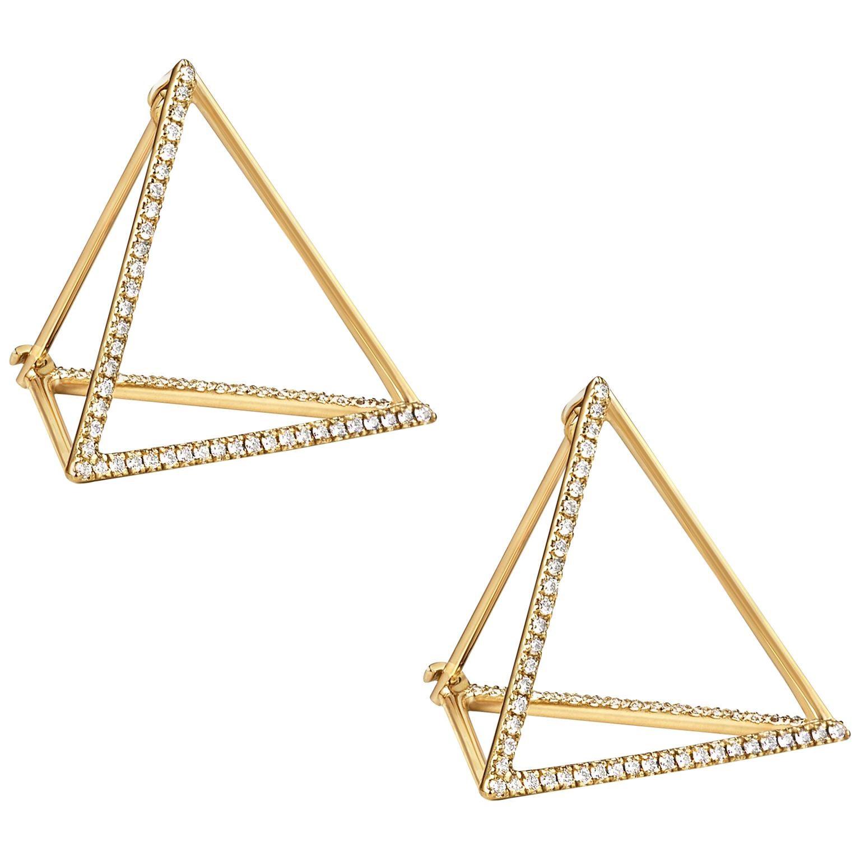 18 Karat Yellow Gold Diamond Triangle Pair Earrings