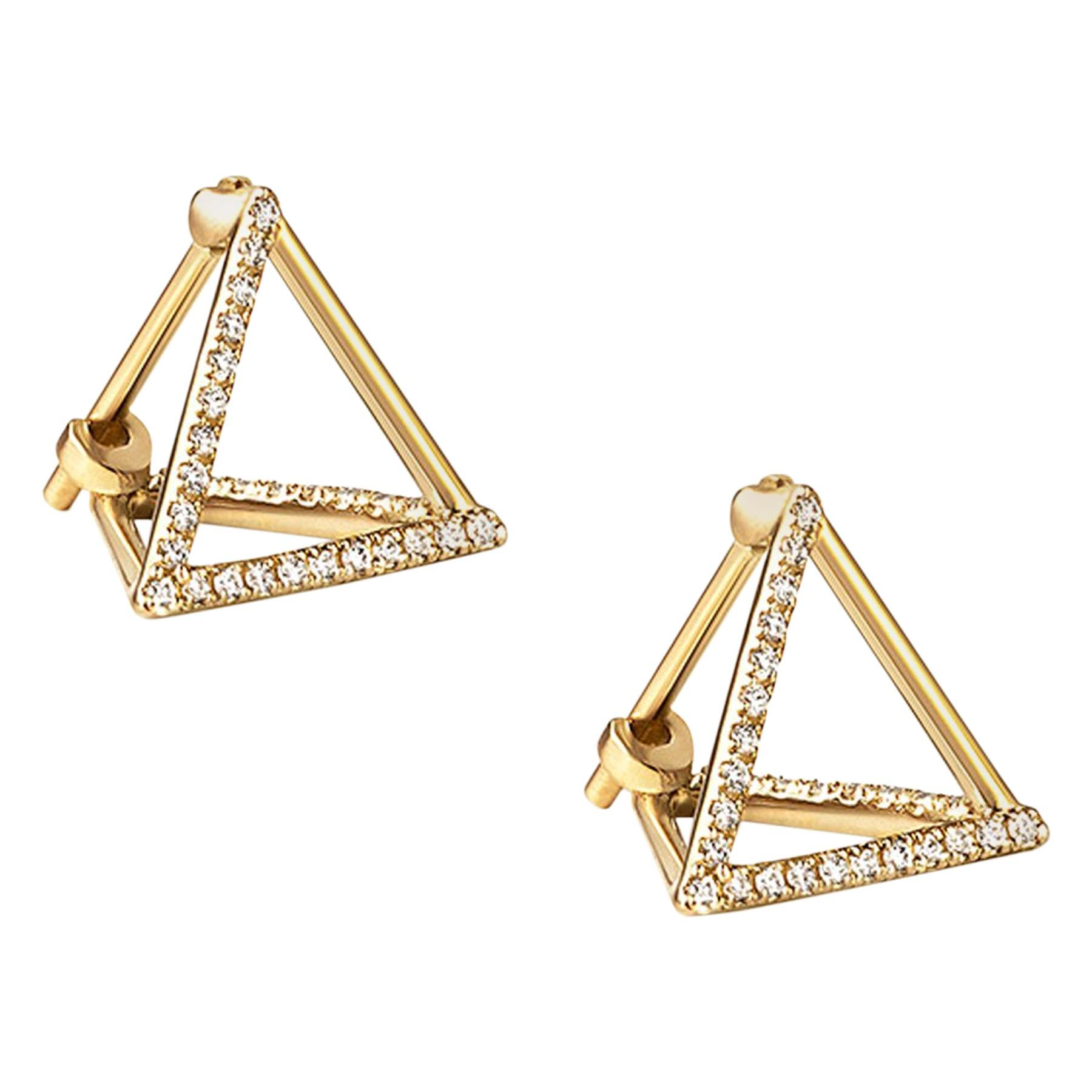 18 Karat Yellow Gold Diamond Triangle Stud Earrings