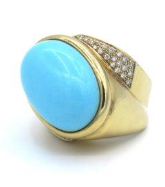 18 Karat Yellow Gold Diamond Turquoise Ring