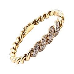 18 Karat Yellow Gold Diamond Twisted Bracelet