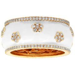 18 Karat Yellow Gold Diamond White Enamel Band Ring