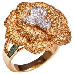 18 Karat Yellow Gold Diamond, Yellow Sapphire and Tsavorite Flower Ring