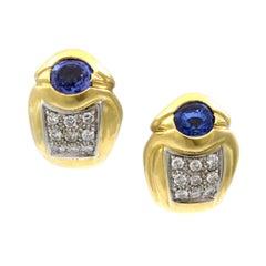 18 Karat Gelbgold Diamanten und Saphir Huggy Ohrringe