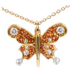 18 Karat Yellow Gold Diamonds and Sapphires Butterfly Garavelli Pendant