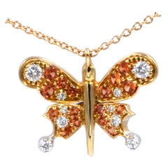 18 Karat Yellow Gold Diamonds and Orange Sapphires Butterfly Garavelli Pendant