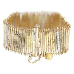 18 Karat Yellow Gold Diamonds Bracelet, 1950