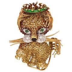 18 Karat Yellow Gold Diamonds Emerald Animal Brooch