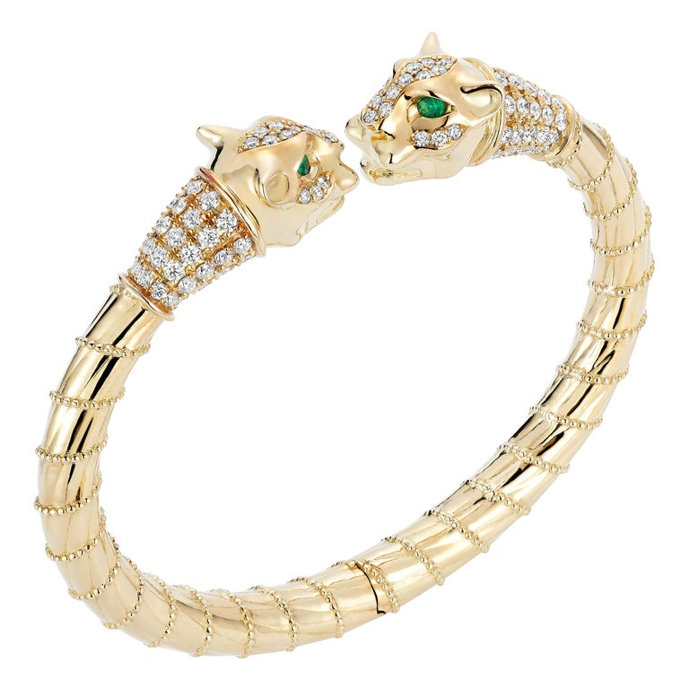 18 Karat Yellow Gold Diamonds Emeralds Spring Cuff Bracelet Lioness Ancient For Sale
