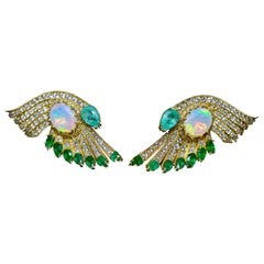 18 Karat Yellow Gold Diamonds Opals Emeralds Drop Earrings