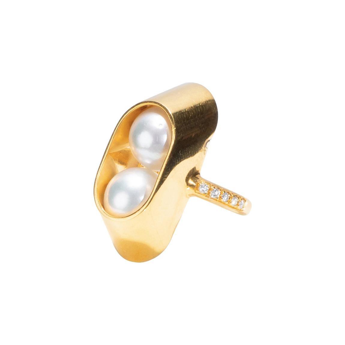 18 Karat Yellow Gold, Diamonds, South Sea Pearls Cocoon Large Ring