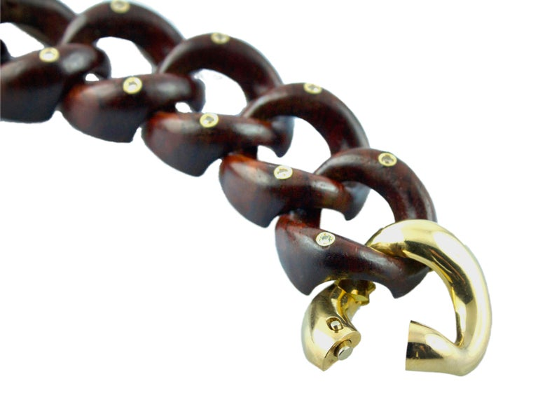 18 Karat Yellow Gold Diamonds Wood Links Bracelet In New Condition For Sale In Milano, IT