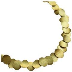 "18 Karat Yellow Gold Disc ""Petal"" Choker Necklace, Kayo Saito"