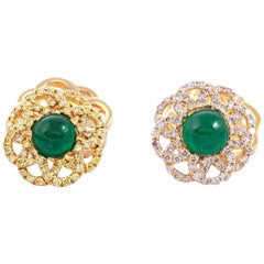 18 Karat Yellow Gold Rosetta Women Cufflinks with Emerald Cabochons