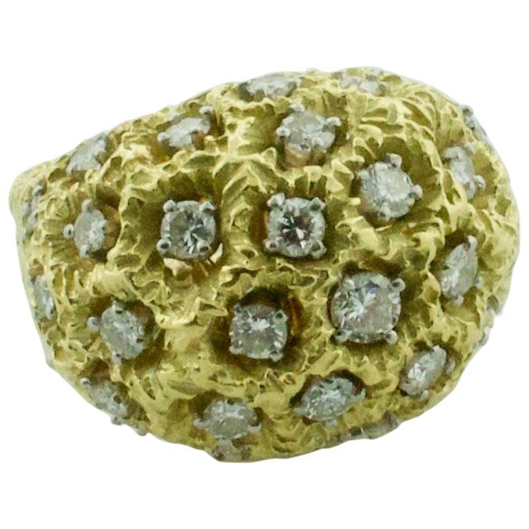 18 Karat Yellow Gold Dome Diamond Ring, circa 1960s