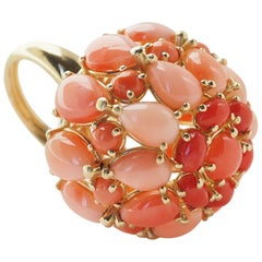 18 Karat Yellow Gold Dome Italian Sciacca Coral Ring