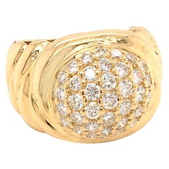 18 Karat Yellow Gold Dome Pave' Diamonds Ring Made in Italy with Box