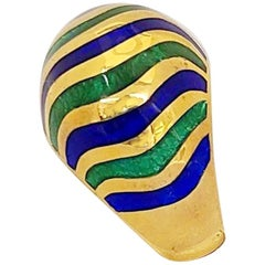 18 Karat Yellow Gold Dome Ring with Blue and Green Enamel